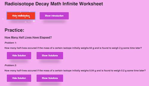 Radioisotope Decay – Radioactive Decay Worksheet